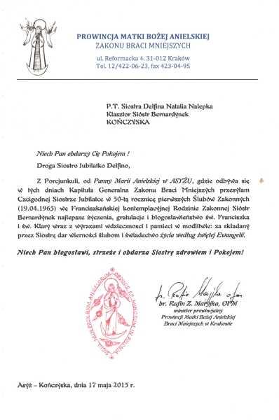 50 Lat ślubów Zakonnych Sdelfiny Klasztor Sióstr