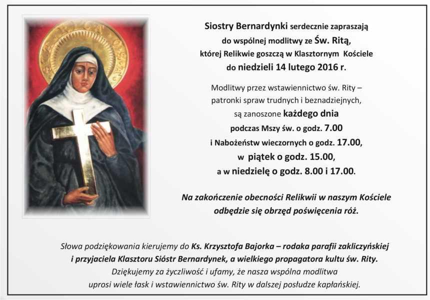Relikwie św Rity Klasztor Sióstr Bernardynek W Zakliczynie