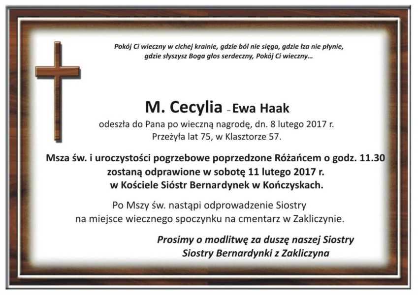 Ostatnie pożegnanie M.Cecylii